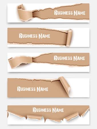Verzameling gescheurd papier banners geïsoleerd. Stockfoto - 37967011