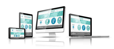 web site design: Modern devices with web design template. Vector illustration