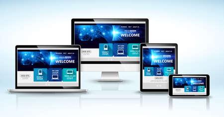 Moderne Geräte mit Web-Design-Vorlage. Vektor-Illustration