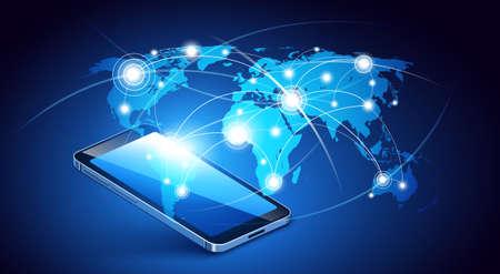tecnologia comunicacion: Tecnolog�a de la comunicaci�n moderna con el tel�fono m�vil. Ilustraci�n vectorial