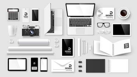 corporativo: Simulacro de puesta en marcha de la identidad corporativa y de marca sobre fondo claro. Ilustración vectorial Vectores