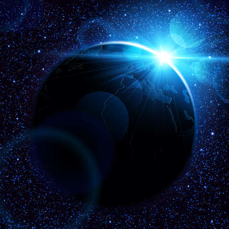 sunshine background: Planet earth with sunrise in space. Vector space background