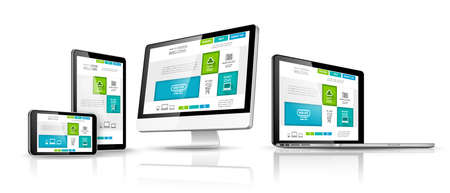web development: Modern devices with web design template. Vector illustration