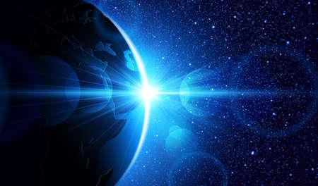 Planeta Ziemia o wschodzie słońca w przestrzeni. Wektor tła przestrzeni