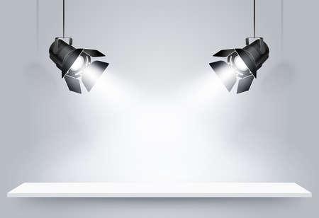 ceiling design: Galer�a Interior con l�mparas negro. Ilustraci�n vectorial Vectores
