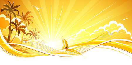 heavenly light: Sunny background with palm trees and sailboat. Vector background Illustration
