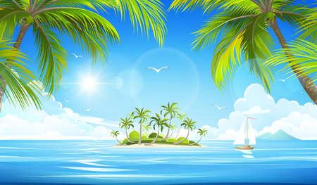 Île tropicale avec palmiers. Vector illustration