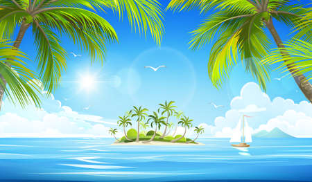 island: Tropical island with palm trees. Vector illustration
