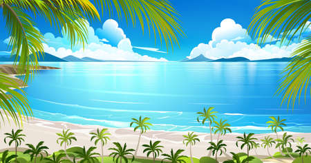 sunny beach: Tropical island with palm trees. Vector illustration