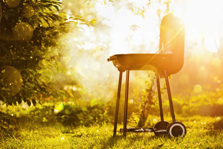 garden barbecue: Barbecue grill in sunlight in the garden Stock Photo