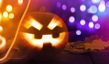 jack o' lantern: Jack O Lantern Halloween Pumpkin bright rays with bokeh effect