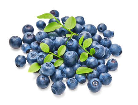 blueberries: Fresh blueberries with green leaves isolated on white