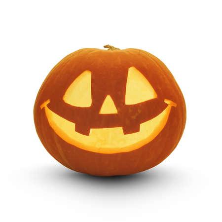 Zucca di Halloween con ombra isolato su bianco Archivio Fotografico - 43607384