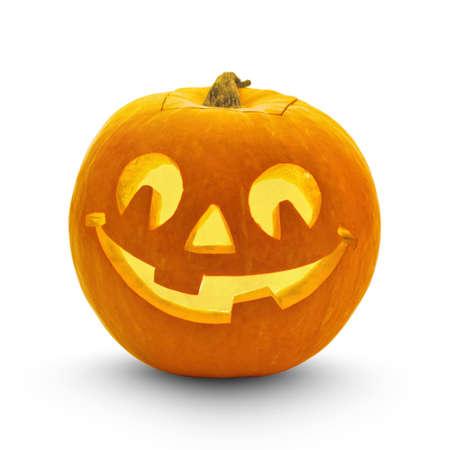 Zucca di Halloween con ombra isolato su bianco Archivio Fotografico - 43793315