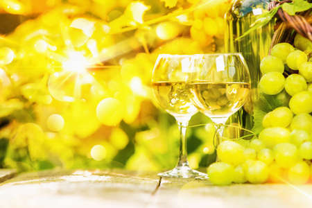 white wine: White wine and grapes on sunny background Stock Photo