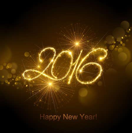 Fuochi d'artificio di Capodanno e coriandoli 2016. Illustrazione vettoriale. Archivio Fotografico - 44614042