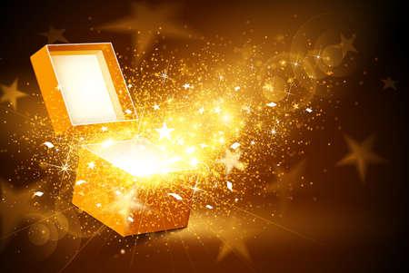 별과 색종이 열린 황금 상자와 크리스마스 배경 일러스트
