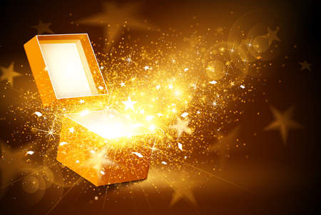 present: Christmas background with open golden box with stars and confetti