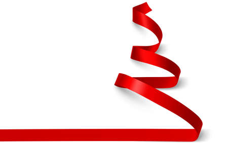Christmas tree made of red ribbon isolated on white. Vector illustration Stock Illustratie