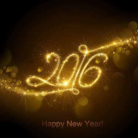 fireworks: Fuegos artificiales de A�o Nuevo y confeti 2016. Ilustraci�n del vector.