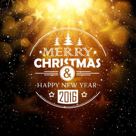 congratulations: Bandera de la Navidad con las estrellas y la nieve sobre fondo abstracto