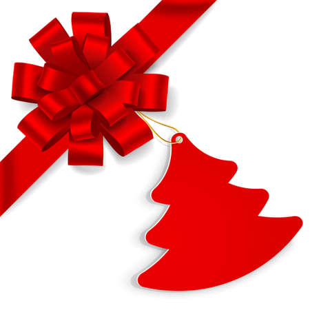 gift ribbon: Red bow with christmas tree on white background. Vector illustration Illustration