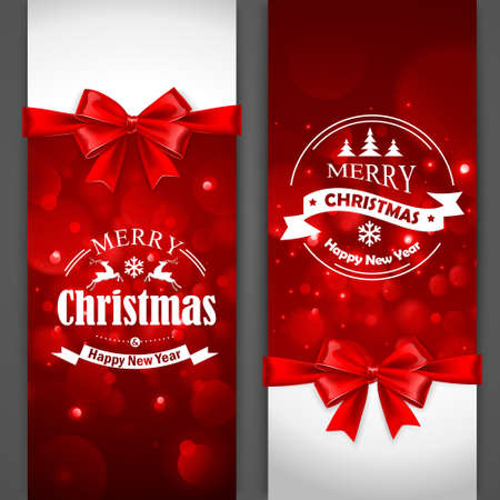 gift bow: Christmas cards with red bows on gray background. Vector Illustration Illustration