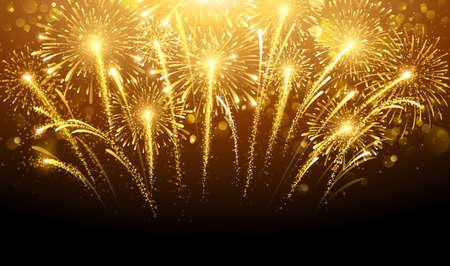 celebra: Fuegos artificiales de vacaciones en el fondo oscuro. Ilustración vectorial