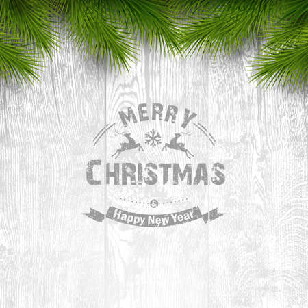 Wooden background with painted holiday typography and Christmas fir tree