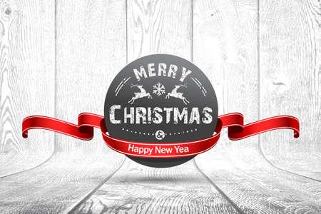 Christmas emblem on white wooden texture. Vector illustration