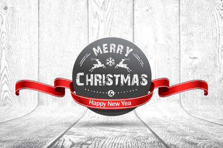 Christmas emblem on white wooden texture. Vector illustration