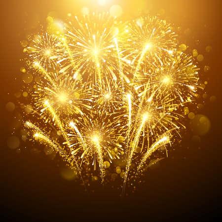 celebra: Fuegos artificiales del A�o en el fondo oscuro. Ilustraci�n vectorial