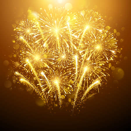 Silvester Feuerwerk auf dunklem Hintergrund. Vektor-Illustration