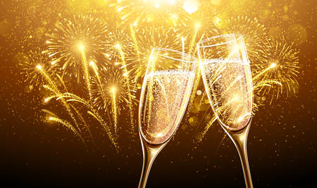toast: New Year fireworks and champagne glasses. Vector