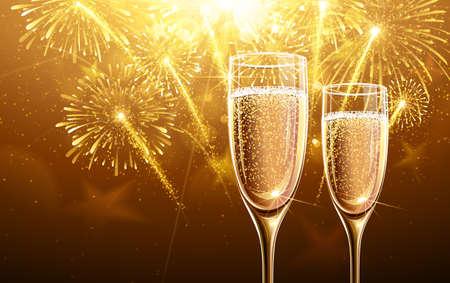 fuegos artificiales: Nuevo fuegos artificiales de Año y copas de champán. Vector