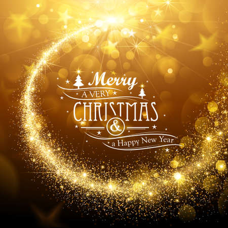 decors: Christmas background with gold magic star. Vector illustration Illustration