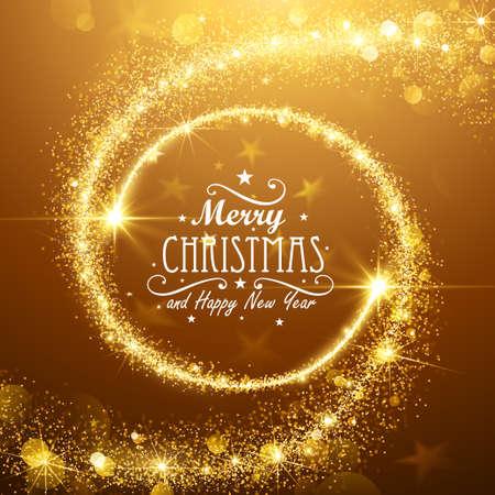 Vánoční pozadí s zlatými hvězdami magie. Vektorové ilustrace