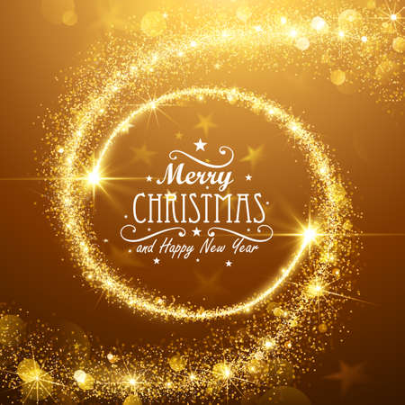 Christmas background with gold magic stars. Vector illustration