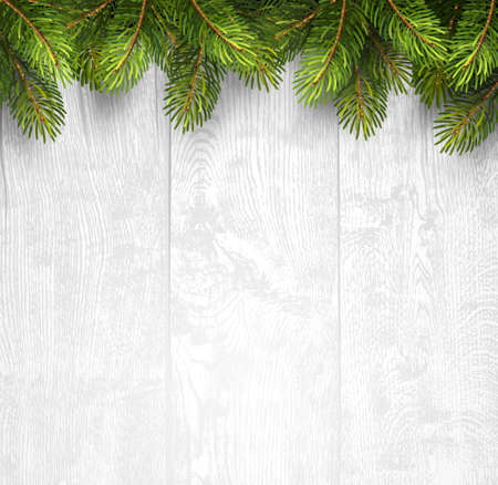 wooden desk: Christmas wooden background with fir branches. Vector illustration