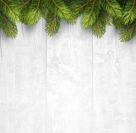 fondo: Fondo de madera de Navidad con ramas de abeto. Ilustración vectorial