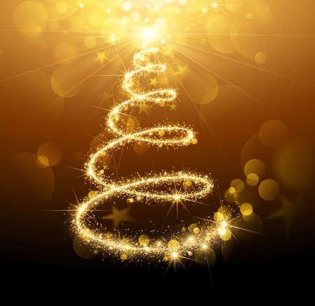 gold tree: Greeting Card Christmas Tree Gold. Vector Illustration
