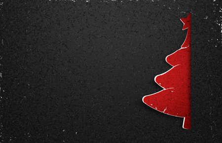christmas postcard: Christmas tree paper with shadow. Creative design vector