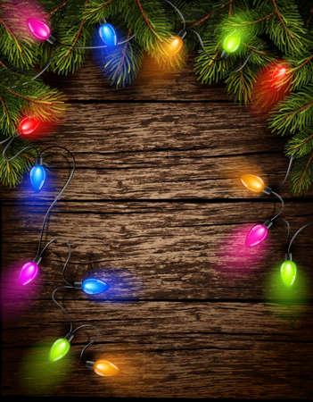 오래 된 나무 질감에 전나무 분기와 크리스마스 조명. 벡터 일러스트 레이 션