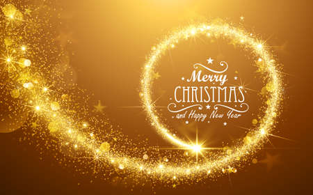gold yellow: Christmas background with gold magic star. Vector illustration Illustration