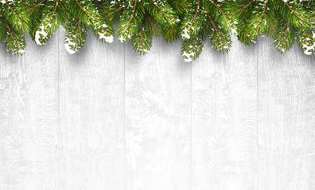 pine green: Christmas wooden background with fir branches and snow. Vector illustration Stock Photo