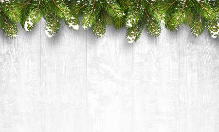 natale: Natale fondo in legno con rami di abete e la neve. Illustrazione vettoriale
