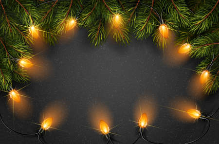 Christmas light with fir branches on black texture. Vector illustration Illustration