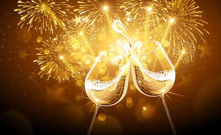 Silvester Feuerwerk und Champagner-Gläser. Vector Lizenzfreie Bilder - 46562459
