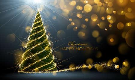 Glänzende Weihnachtsbaum auf dunklem Hintergrund mit Bokeh-Effekt. Vektor-Illustration Standard-Bild - 46502775