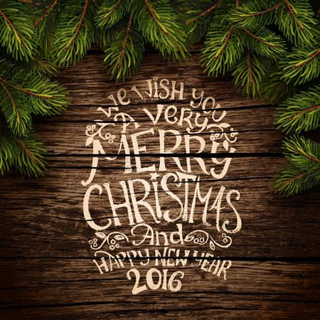 pino: Fondo de madera con pintadas tipografía vacaciones y abeto de Navidad. Ilustración vectorial